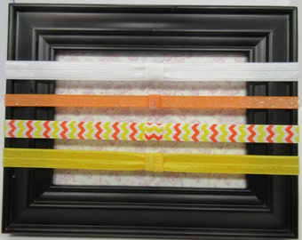 Bright Colored Interchangeable Elastic Headband Set, Chevron Headband. Orange Headband, Yellow Headband