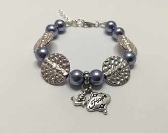 Fancy silver gray with charm 'HOPE' ref 767 bracelet