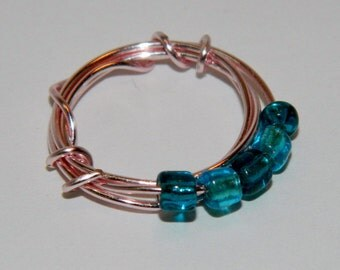 Blue Wire Wrapped Ring