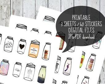 Hidden Garden ~ printable 60 stickers planner 3 sheets jar bottle instant download digital PDF JPG adesive paper agenda doddle Erin Codren