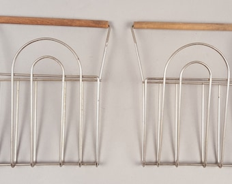 1950s Fifties Mid Century Midcentury Modern Wood and Wire Letter Holders, Wire Art Sculpture, Atomic Jet Age, Vintage Office, Moderne