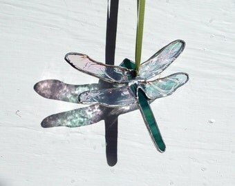 Stained Glass 'Dragonfly' Sun Catcher. Glass Insect,Pond Life,Green & Iridised Glass,Unique,OOAK, Birthday, Easter Gift