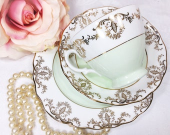 Royal Vale English Tea Trio, Mint Green & Gold Filigree Bone China English Tea Cup, Saucer, Plate For Tea Time, Tea Party, Wedding. #A134
