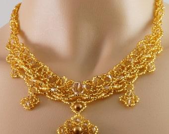 Topaz Swarovski crystal gold Czech glass beaded necklace. gold Victorian necklace. gold beaded pendant necklace. gold crystal necklace