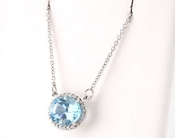 14K White Gold Diamond Natural Aquamarine Halo Style Pendant Necklace, Set with a 1.86 Carat or 9x7MM Oval Aquamarine Gemstone