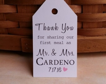 25 Thank You for Sharing Our First Meal as...Wedding Favor Tags, Custom Wedding Favor Tags, Custom Wedding Tags