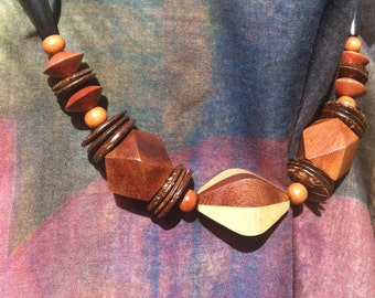 Natural Light & Dark Wood Statement Necklace, Bold African Vibe Jewelry, Chunky Wood Beads, Holiday Gifts for Her Under 20