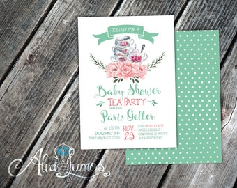 Tea Party Baby Shower Invitation - Tea Party - Baby Shower- baby shower invite - tea party invitation - tea baby shower - baby shower tea