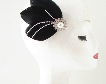 Black White Silver Feather Pearl Fascinator Hair Clip Vintage 1920s Art Deco 109