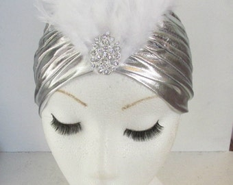 Silver Feather Turban 1920s Vintage Flapper Headband Cloche Great Gatsby 40s L77