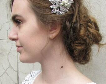 Silver Rhinestone Pearl Leaves Hair Comb Bridal 1920s Vintage Headpiece 1930 T38