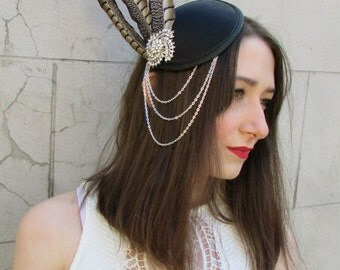 Brown Black Silver Chain Pheasant Feather Fascinator Headpiece Vintage Races Y77