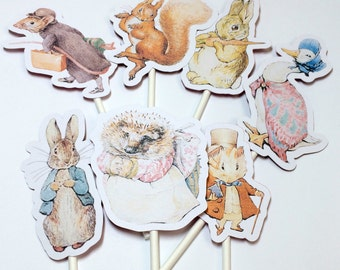 Cupcake Toppers Peter Rabbit, Party Decorations. Baby Shower. Birthday Party Decoration. Benjamin Bunny, Jemima Puddleduck, Beatrix Potter