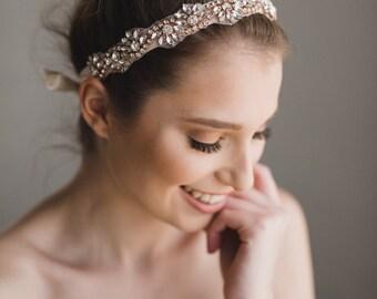 Rose Gold Bridal Headband | Rose Gold Crystal Headband | Rose Gold Bridesmaid Headband | Bridal Headband | Rose Gold Azalea Headband