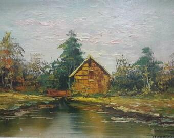 Old vintage artist signed original oil painting lake house nature landscape