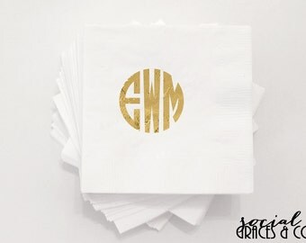 Monogram Wedding Napkins | Personalized Napkin | Hot Stamped Foil