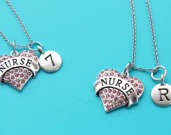 NURSE HEART note Stainless Steel Necklace,Initial or Number,nurse,nursing,rn,lpn,np,nurse jewelry,nursing student,nursing instructor,1549