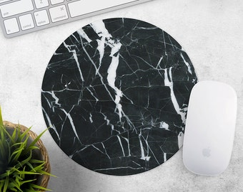 Black Marble MousePad Marble Mouse Pad Stone Mouse Mat Rubber MousePad Gift Office Desk Accessories Pad Round Mouse Mat Rectangular MousePad
