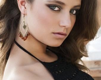 Boho Chandelier Earrings, Bubble earrings, Chick earrings, Festival  Dark red Bohemian Hoops, Large Dangles