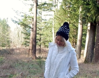 Fair Isle Knit Slouchy Pom Pom Hat in Black and Cream