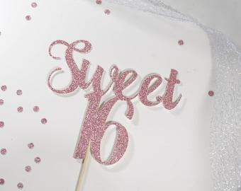 SWEET 16 Cake Topper Sixteenth Birthday Cake Topper Sweet
