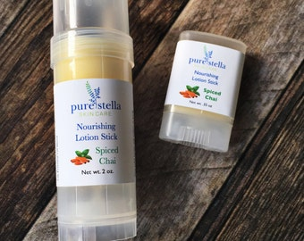 Spiced Chai Lotion Stick - Limited Edition all natural moisturizing hard lotion stick in a twist up tube