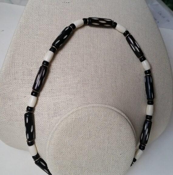 CARVED BONE Bead Choker Necklace in Black & White. Unbreakable. Tribal, Ethnic, Surfer, Mens, Women's, Unisex, Simple.