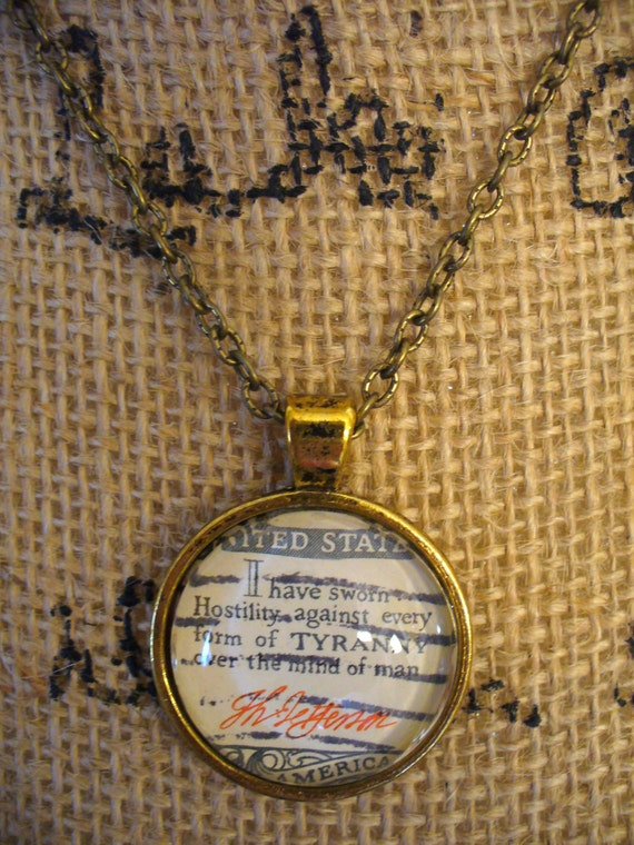 Stamp Jewelry, Stamp Necklace, Vintage Stamp, Stamp Pendant, Pendant Necklace, One of a Kind, Thomas Jefferson Quote Stamp, MarjorieMae