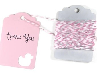 Light Pink Baby Shower Duck Tags Set of 20 - Pink Duck Shower Favor Tags - Thank You Tags - Baby Girl Gift Tags - Pink Duck Party Tags