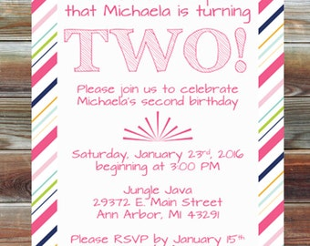 Tickled Pink Second Birthday Invitation - Printable Custom 2nd Birthday Girl Invitation - Tickled Pink Striped Theme Birthday Party Invite