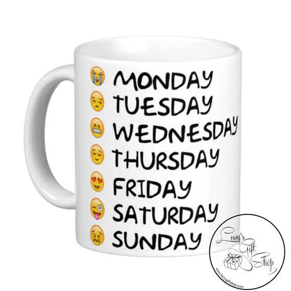 emoji weekday mug teacher coffee funny gift best. Black Bedroom Furniture Sets. Home Design Ideas