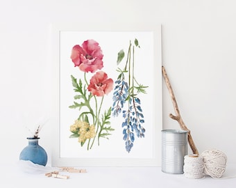 California San Francisco Flower Botanical Poster, print, wall decor, 5 x 7 in, 8.5 x 11 in, 12 x 16 in