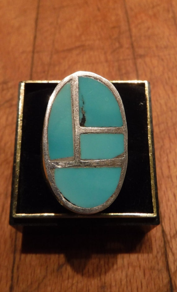 Mens Heavy Sterling Silver Ring Navajo Native American Heavy 15.1 grams Size 9.5 Mens Ring large Silver Navajo Turquoise Inlay Ring Mens
