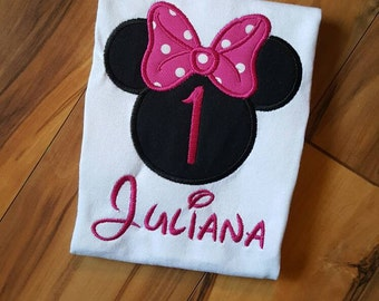 Minnie Birthday Shirt - Applique Minnie Mouse