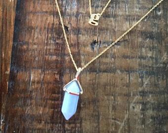 Iced Blue Gemstone Pointed Pendant