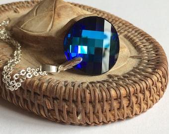 Bermuda Blue Swarovski Necklace, Large Swarovski Necklace,  Bermuda Blue Swarovski Twist Pendant,  Swarovski Jewelry