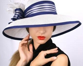 White royal blue hat, widebrim hat, Summer sun hat, Kentucky derby hat, Wedding Party hat, Royal Ascot hat, Audrey Hepburn hat, elegant hat