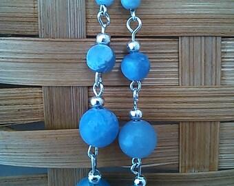 Ascending blue agate earrings