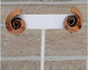 Copper colored snail swirl screw back earrings