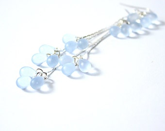anniversary gift ideas blue earrings aquamarine jewelry cluster earrings sky blue gift daughter snow earrings romantic gifts wife пя134