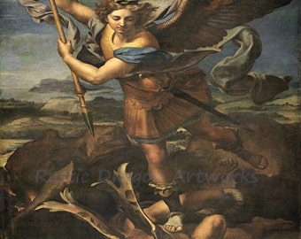 "Raphael ""Archangel Michael Vanquishing Satan"" c1518 Reproduction Digital Print Archangel Spirituality Religion Christianity"