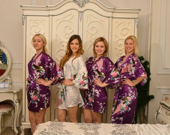 CD1 Purple Kimono Satin Robes Wedding Gifts Getting Ready Robes Bridal Party Robes Floral Robes Dressing Gown Ready Hair Robes Shower robes