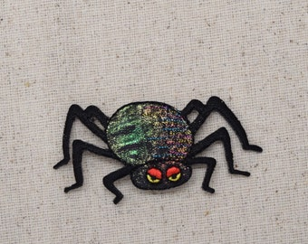 Halloween - Black Spider - Shimmery - Embroidered Patch - Iron on Applique - 156920A