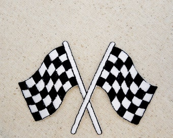 Racing Flag - Black and White Checkered - Embroidered Patch - Iron On Appliqué - LARGE -  696781A