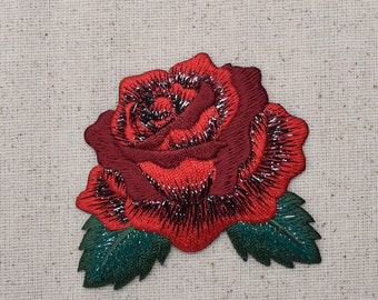 Red Rose - Open Petals - Flower - Iron on Applique - Embroidered Patch - 153102A