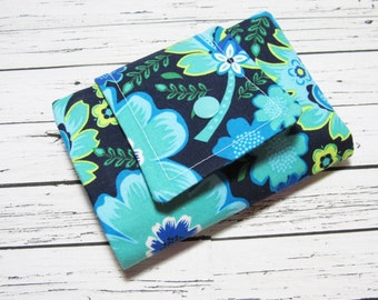 Womens Fabric Billfold Wallet, Credit Card Money Holder, Navy Turquoise Yellow Floral  Billfold