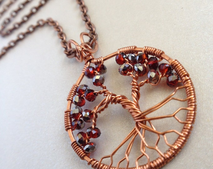 January Birthstone Virgo Jewelry Garnet Jewelry 2nd Anniversary Gift for Her Gemstone Pendant Aries Leo Pendant Custom Family Tree Necklace