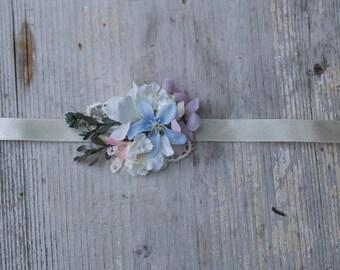 Floral bracelet  Bracelet on satin ribbon Bracelet for bride Bracelet for bridesmaid Romantic bracelet