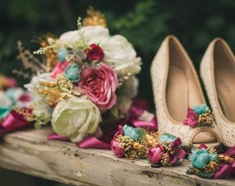 Wedding Flower Set Bridal Bouquet Flower Headpiece Grooms Boutonierre Wedding Belt Flower Girl Bouquet Rustic Bouquet Shoe Clips