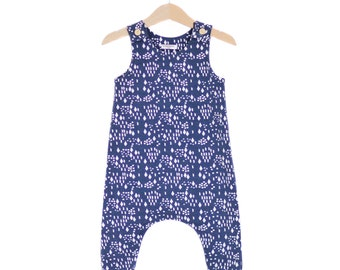 Dark Blue Diamonds & Dots Organic Cotton Baby Romper